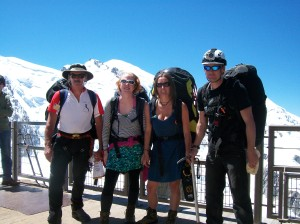 Me, Irwyn, Dan and Bex on the way up to Aguille de Midi