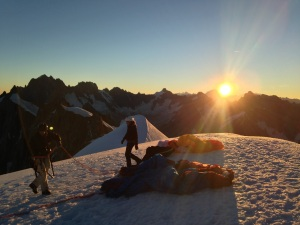 Preparing for a dawn flight from the Aguille de Midi