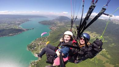 A long awaited highlight - flying my niece on the tandem in Annecy.